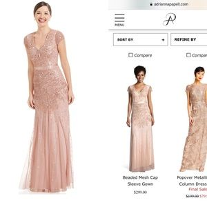 Adrianna Papell Beaded Mesh Cap Sleeve Gown